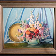 Superb Mid 20th Century Still Life by Listed Hoosier Artist Lola Saint John