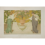 Art Nouveau Graphic Print c. 1904, Flower Care