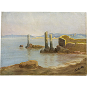 1931 Oil on Board Coastal Painting of Ancient Ruins, Signed
