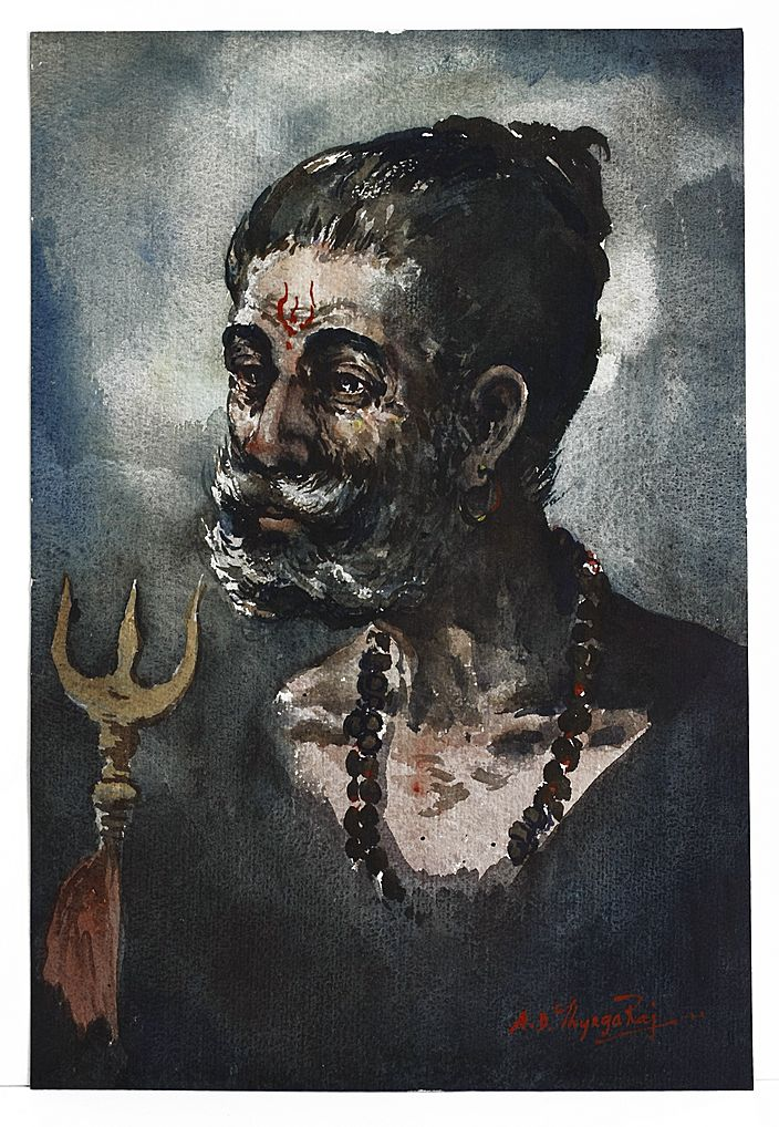 Portrait of a Man by Indian Artist G. D. ThyagaRaj