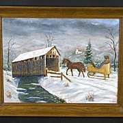 Vintage Folk Art Covered Bridge Painting Signed