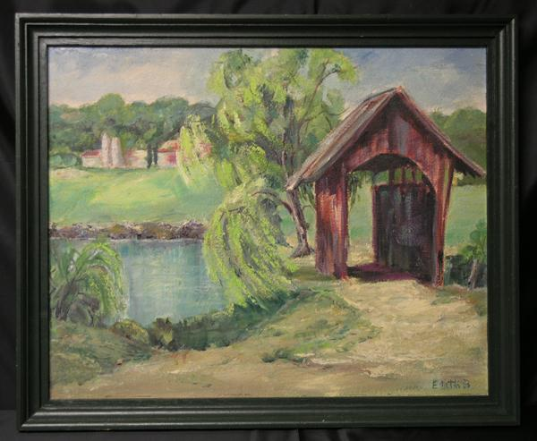 Mid Century Regionalist Landscape Oil on Board of a Covered Bridge, Signed