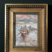 Modernist Neapolitan Mount Vesuvius Scene with Figures in a Boat, Bay of Naples, c. 1920