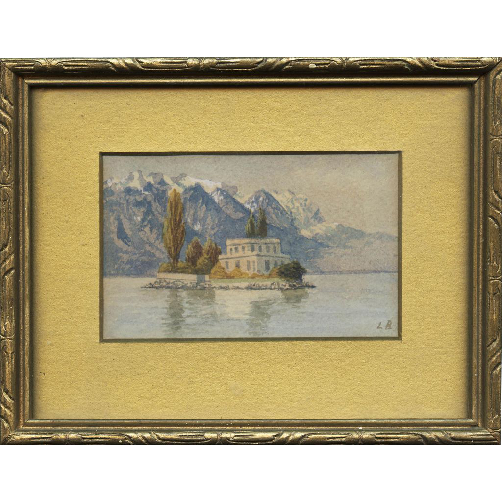 19th Century Miniature Watercolor Painting, Island on a Lake