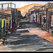 Mexican / Western Main Street Scene, Mid Century