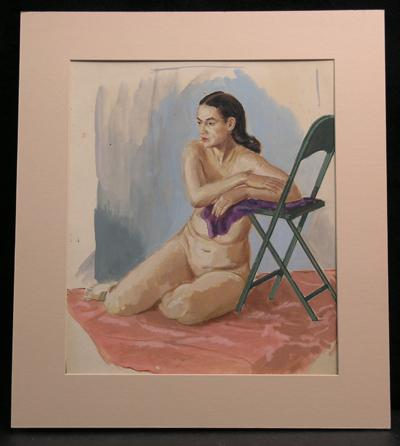 Exceptionally Well Drawn Figure Study, Female Nude With Chair, Original Gouache/Watercolor, c. 1940