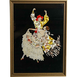 Early 20th Century Reverse Glass Painting of Dancing Gypsies