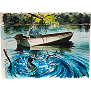 Colorful Original Vintage Watercolor of Fisherman With a Big Catch