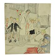 Charming c. 1940 Drawing of School Kids Playing