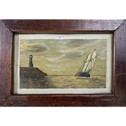 Cute Antique American Folk Art Painting of a Ship