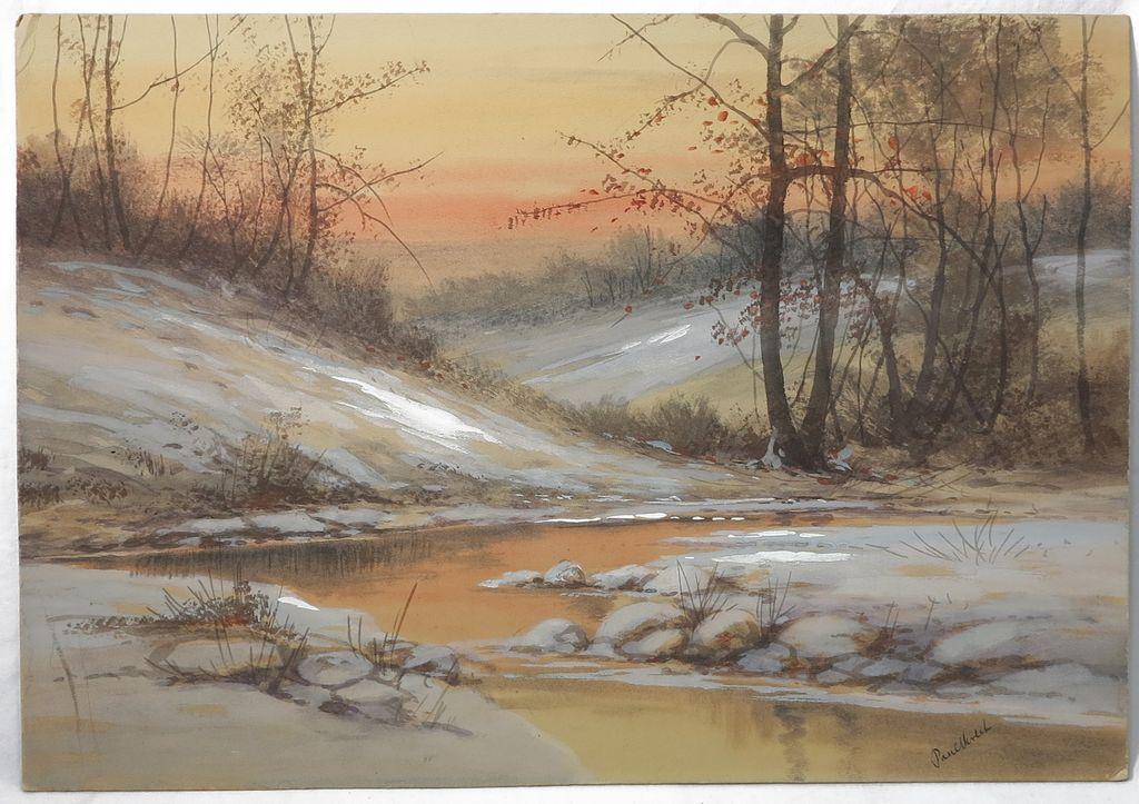 Winter Forest Scene By Listed American Artist Paul Verlet