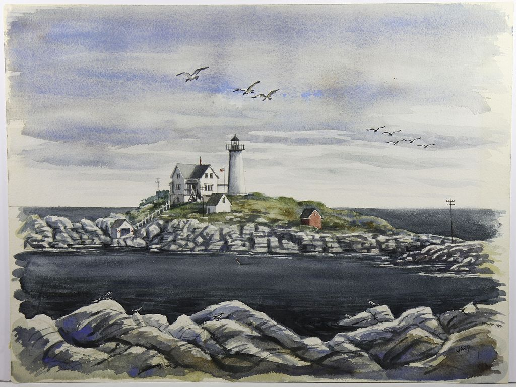 Maine Coastal Watercolor , Nubble Light House, York, Maine by Byran Ward