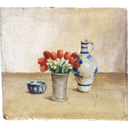 Miniature Still Life Painting, Mid 20th Century, Signed with Initials