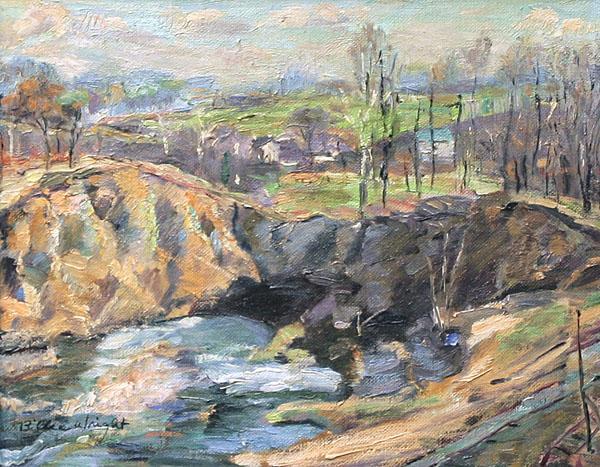 Impressionist Oil on Board Landscape Signed Wright