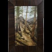 """""""Seven Falls"""", Oil on Board, By Colorado Artist Harriet Wright"""
