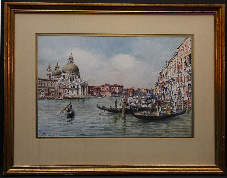 Italian Watercolor Venetian Waterfront Scene of Piazza San Marco by Vettore Zanetti Zila