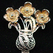 1960s Agrigento Italy Sterling Filigree Flower Pot Brooch Pin
