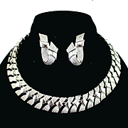 Signed Coro Silver tone Fringe Style Necklace and Earrings