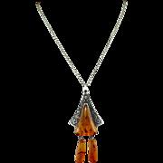 Retro 875 Russian Silver Baltic Amber Necklace