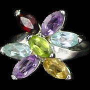 Large Vintage Sterling Multi Gemstone Flower Shape Ring Size 7