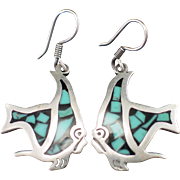 Estate Mexican Sterling Mosaic Turquoise Inlay Fish Earrings