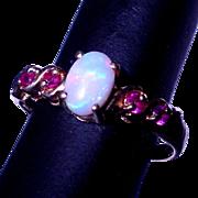 Estate 10k Firey Opal & Ruby Ring Size 5