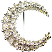 Early Bliss Bros. Sterling Crescent Moon Rhinestone Brooch Pin