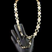 Stunning Swarovski Swan Mark Black and Clear Crystal Necklace and Bracelet