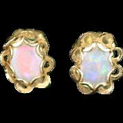 Estate 14k Yellow Gold Fire Opal Stud Post Earrings