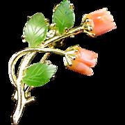 Beautiful Vintage Carved Jade & Coral Rose Flower Brooch Pin
