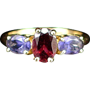 Estate Gorgeous 14k Triple Stone Garnet and Amethyst Ring Size 5-1/2