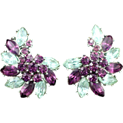 Large Ornate Crown Trifari Amethyst and Sky Blue Rhinestone Earrings