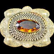 Art Nouveau Large Brass and Amber Glass Sash Pin Brooch