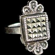 Unique Vintage Geometric Sterling Marcasite Ring Size 6