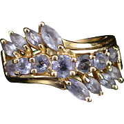 Estate 10k Large Double Row Amethyst Cocktail Ring Size 5