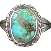 Early Old Pawn Signed Turquoise Sterling Ring Size 4-1/2