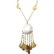 Large Retro Mother of Pearl Statement Necklace With Multiple Long Dangles