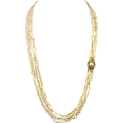 Vintage Multi Strand Fresh Water Baroque Pearl Torsade Necklace with Sterling Clasp