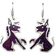 Estate Mexican Sterling Donkey or Burro Earrings with Inlay Sugilite and Hooks for Pierced Ears