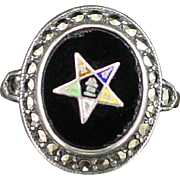 Vintage Uncas Sterling Marcasite Masonic Eastern Star Ring Size 4-3/4
