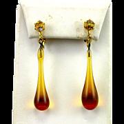 Gorgeous Retro Blown Amber Glass Long Chandelier Earrings