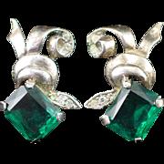Art Deco Sterling Unique Large Emerald Green & Clear Rhinestone Screw Back Earrings