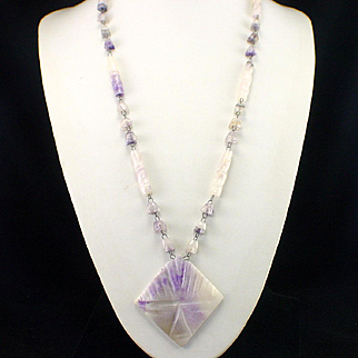 Large Wired Agate Amethyst Color Necklace with Carved Pendant