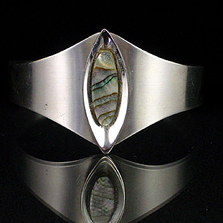 Large Retro Sheffield England Stainless Steel Abalone Cuff Bracelet