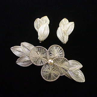 Large Retro Germany Fine Silver Wirework Brooch and Earrings