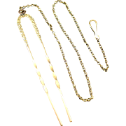 Ornate Victorian Hair Pin with Safety Chain