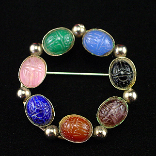 Unique Vintage Gemstone Scarab Circle Pin