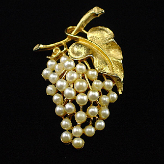 Large Signed ART Faux Pearl Fruit Cluster Brooch Pin