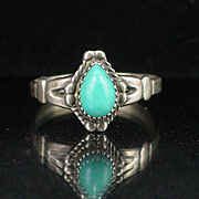 Signed Bell Trading Post Sterling Turquoise Ring Size 8-1/2