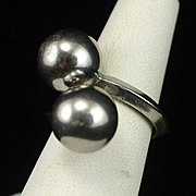 Large Modernist Sterling Ball Bypass Ring Size 7